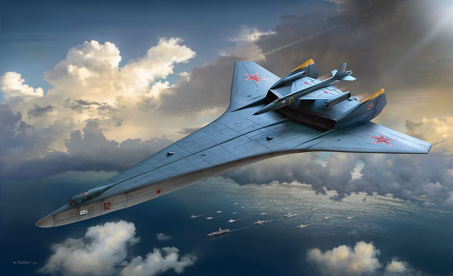 Illustration of Soviet Bartini A-57 Bomber by Brad Fraunfelter for Fantastic Plastic model company.