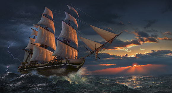 """Clearing Storm"" rigged sailing ship illustration by Brad Fraunfelter."