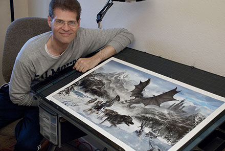 "Artist Brad Fraunfelter and his ""Forbidden Valley"" cover artwork."